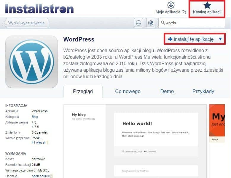 Instalacja bloga wordpress