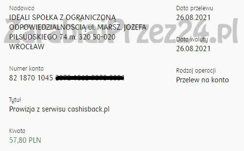 cashisback dowód wypłaty